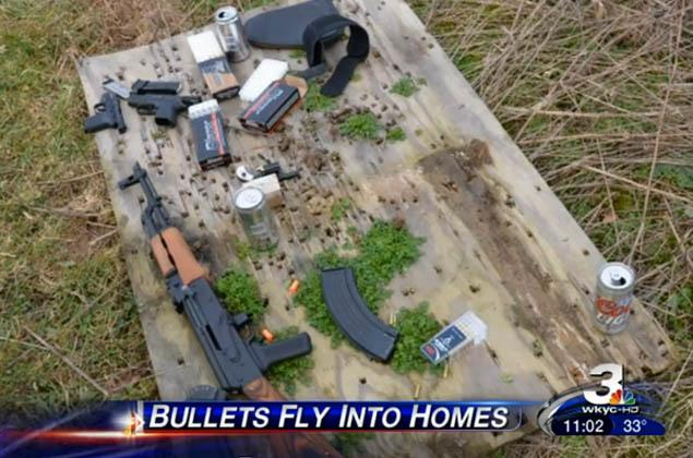 Police responded to an Ohio neighborhood after receiving 911 calls about bullets tearing through local homes. After locating the alleged culprits, these weapons were seized.[/caption]   <h4/>Police in Montville, Ohio arrested Mark Bornino and R. Daniel Volpone on Wednesday after they were discovered to be conducting target practice in a neighborhood backyard with an AK-47 assault rifle, three other guns, and a bunch of alcohol. The two accidentally sprayed area houses with bullets, leading to a series of panicked 911 calls.</p> <p><strong>(<a href=